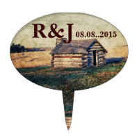 western country mountain cabin wedding cake topper