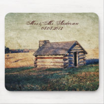 western country mountain cabin wedding mouse pad