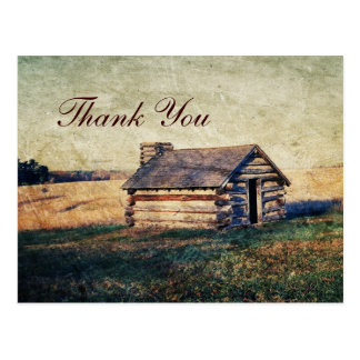 western country mountain cabin wedding thank you postcard