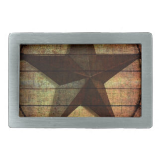 Western Country Primitive Barn Wood Texas Star Belt Buckle