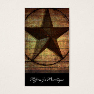 Western Country Primitive Barn Wood Texas Star Business Card