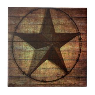 Western Country Primitive Barn Wood Texas Star Ceramic Tile