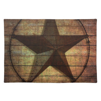 Western Country Primitive Barn Wood Texas Star Cloth Placemat