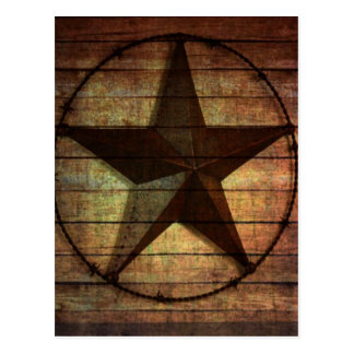 Western Country Primitive Barn Wood Texas Star Postcard