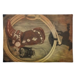 Western Country Rodeo cowboy boot Lasso Rope Cloth Placemat