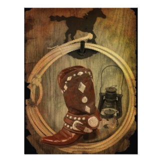 Western Country Rodeo cowboy boot Lasso Rope Letterhead