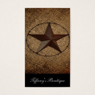 Western Country Rustic Burlap Primitive Texas Star Business Card