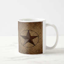 Western Country Rustic Burlap Primitive Texas Star Coffee Mug