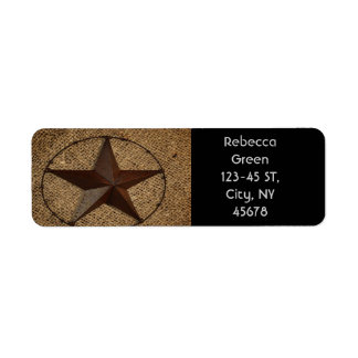 Western Country Rustic Burlap Primitive Texas Star Label