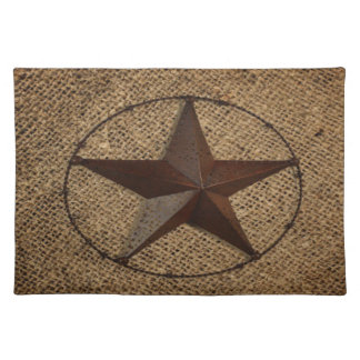 Western Country Rustic Burlap Primitive Texas Star Placemat
