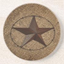 Western Country Rustic Burlap Primitive Texas Star Sandstone Coaster