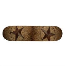 Western Country Rustic Burlap Primitive Texas Star Skateboard
