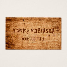 Western Country Rustic Scratched Wood Grain Business Card at Zazzle