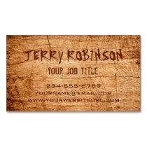 Western Country Rustic Scratched Wood Grain Business Card Magnet
