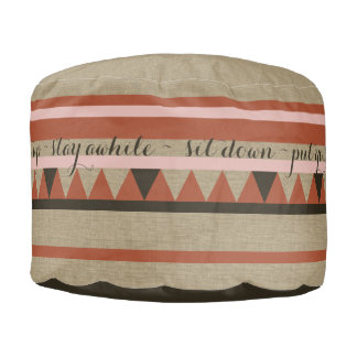 Western Country Rustic Welcome Text Design Pouf