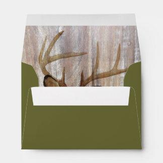 western country rustic wood grain deer head envelopes