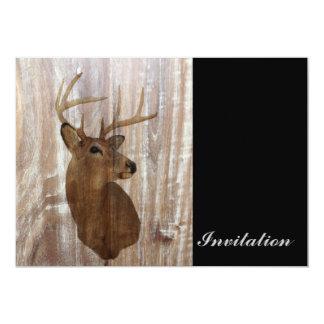 western country rustic wood grain deer head 5x7 paper invitation card