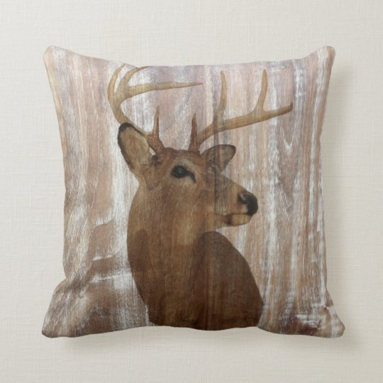 Throw Pillows Deer : western country rustic wood grain deer head throw pillow Zazzle