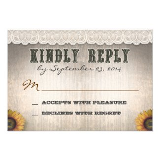 western country style and lace wedding RSVP