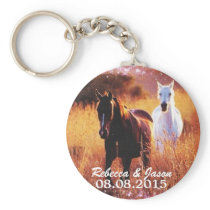 western country sunset horse themed wedding keychain