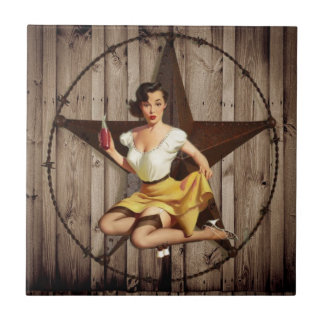 Western Country Texas Star Pin Up Girl Cowgirl Ceramic Tile