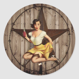 Western Country Texas Star Pin Up Girl Cowgirl Classic Round Sticker