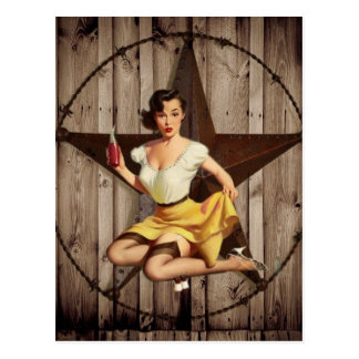 Western Country Texas Star Pin Up Girl Cowgirl Postcard