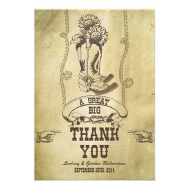 western country wedding thank you cards