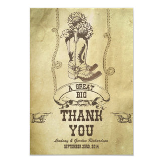 "western country wedding thank you cards 3.5"" x 5"" invitation card"