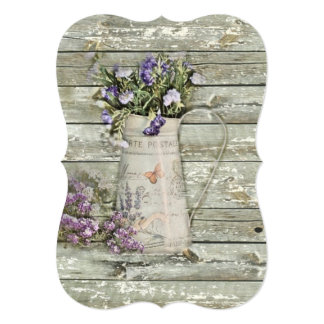 Western country wild lavender primitive barn wood card