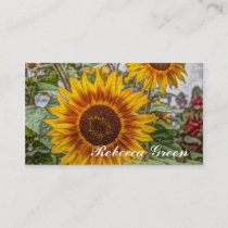 western country yellow sunflower wedding business card