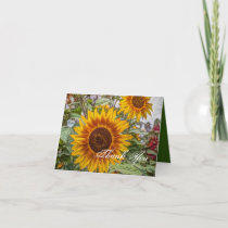 western country yellow sunflower wedding thank you card