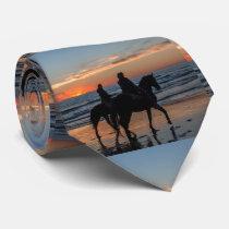 Western Couple Horseback Riding Beach Sunset Tie