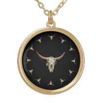 Western Cow Skull Black Brown Country Rustic Style Gold Plated Necklace