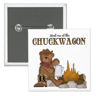 Western Cowbear Cowboy Chuckwagon Fun Pin Button