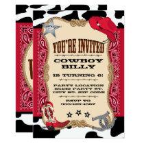 Western, Cowboy Birthday, 5x7 Invitation