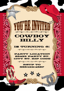Western Cowboy Birthday 5x7 Invitation