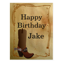 Western Cowboy Boot Happy Birthday Postcard