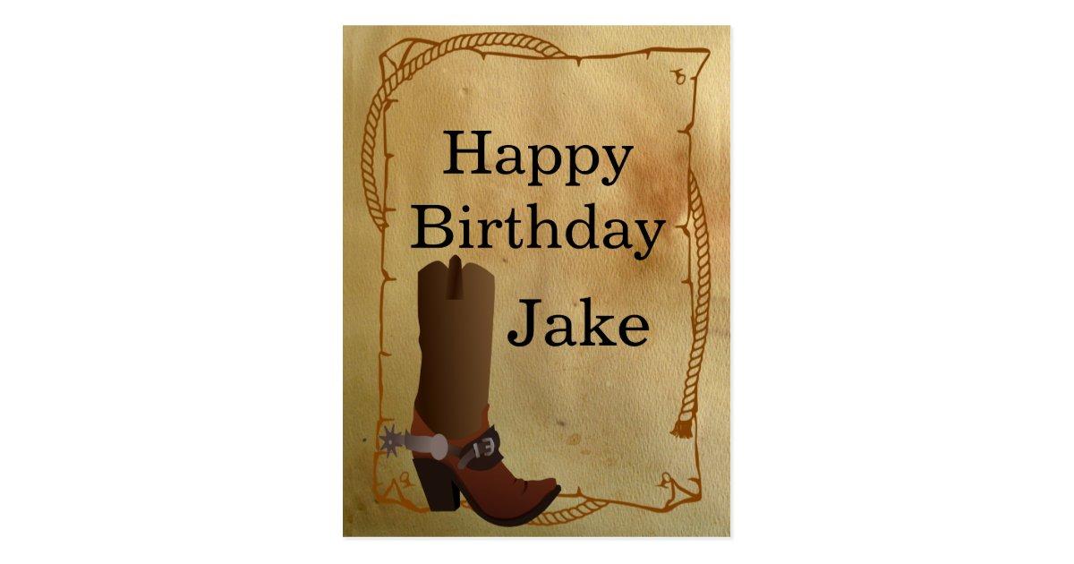 Western Cowboy Boot Happy Birthday Postcard Zazzle Com