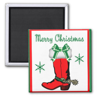 Western Cowboy Boot Stocking With Merry Christmas 2 Inch Square Magnet