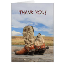 Western Cowboy Boot Thank You Card