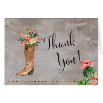 Western Cowboy Boot THank you note Card