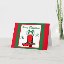 Western Cowboy Boot With Bow Holiday Card