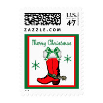 Western Cowboy Boot With Candy Canes Postage