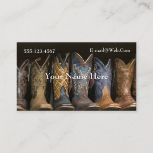 baa5bc22679 Western Cowboy Boots Business Card Template