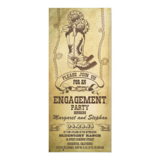western cowboy boots engagement party invitations