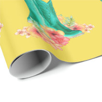 Western  Cowboy Boots  Flowers ANY COLOR Backgrond Wrapping Paper