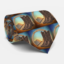 Western Cowboy Boots  Hat Rope Print Necktie