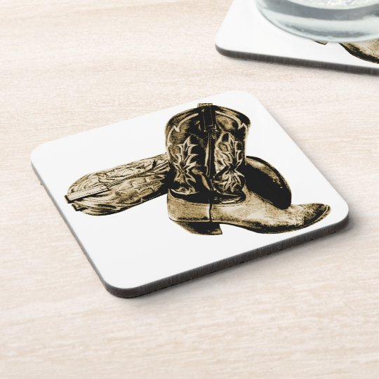 Western Cowboy Boots in Sepia Drink Coaster