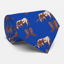 Western Cowboy Boots  Longhorn Steer Necktie